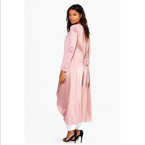 Pink tie back slinky maxi duster